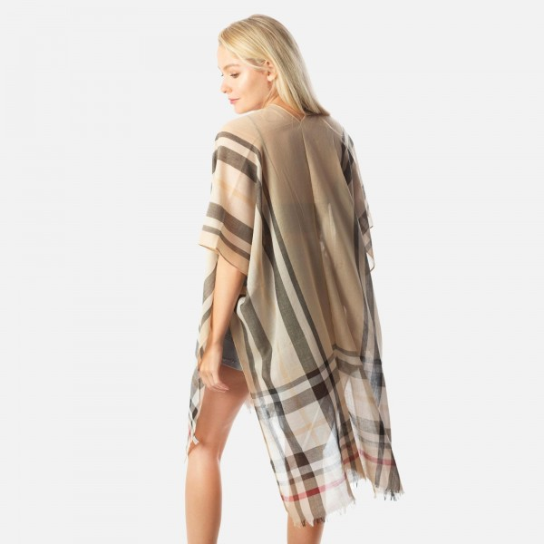 """Women's Lightweight Burberry Plaid Kimono.  - One size fits most 0-14 - Approximately 37"""" L  - 100% Polyester235336"""