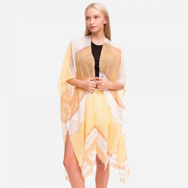 """Women's Lightweight Striped Kimono.  - One size fits most 0-14 - Approximately 37"""" L - 100% Polyester"""