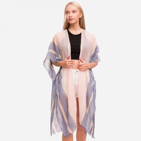 """Women's Lightweight Gold Stripe Kimono.  - One size fits most 0-14 - Approximately 37"""" L - 100% Polyester"""