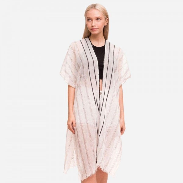 "Women's Lightweight Metallic Stripe Kimono.  - One size fits most 0-14 - Approximately 37"" L - 100% Polyester"