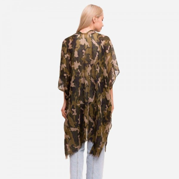 """Women's Lightweight Camouflage Kimono.  - One size fits most 0-14 - Approximately 37"""" in Length - 100% Polyester"""