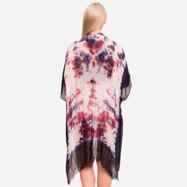 Women's Lightweight Tie Dye Print Kimono Featuring Metallic Accents.  - One size fits most 0-14 - Approximately 37' in Length - 100% Polyester