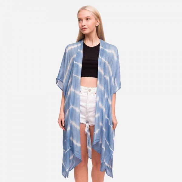 "Women's Lightweight Tie Dye Stripe Kimono.  - One size fits most 0-14 - Approximately 37"" in Length - 100% Viscose"