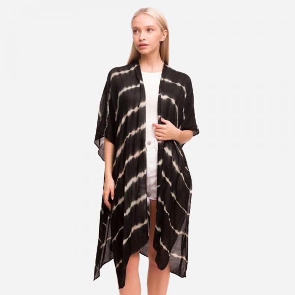 "Women's Lightweight Tie Dye Stripe Kimono.  - One size fits most 0-14 - Approximately 37"" in Length - 100% Viscose"