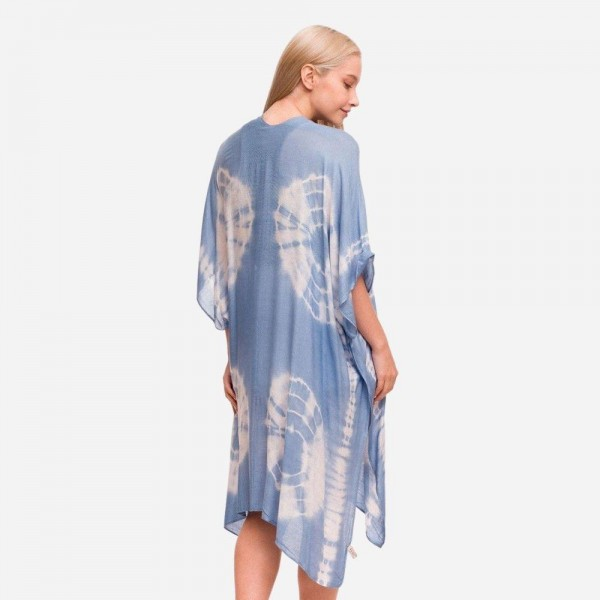 "Women's Lightweight Tie Dye Print Kimono.  - One size fits most 0-14 - Approximately 37"" in Length - 100% Viscose"