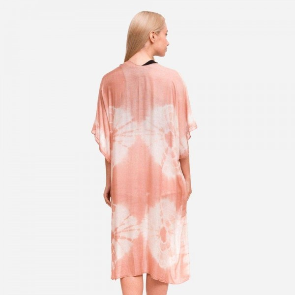 """Women's Lightweight Tie Dye Print Kimono.  - One size fits most 0-14 - Approximately 37"""" in Length - 100% Viscose"""