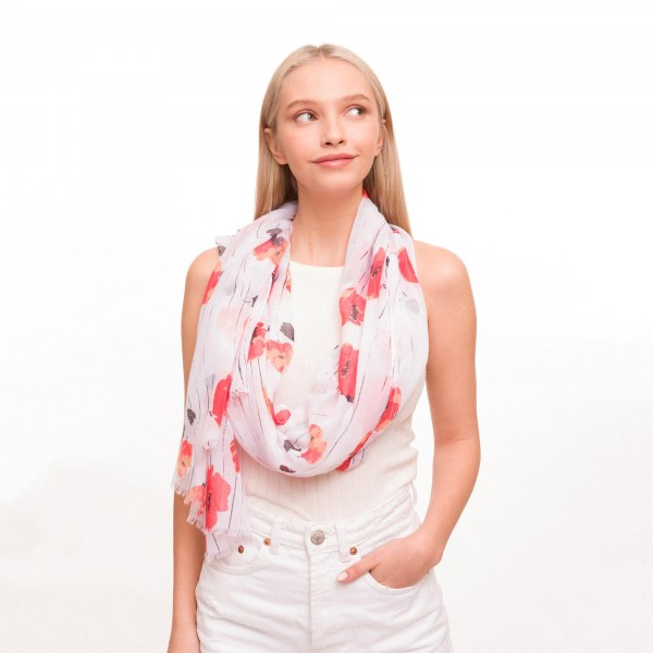 "Women's Lightweight Sheer Floral Print Scarf.  - Approximately 35"" W x 70"" L - 100% Viscose"