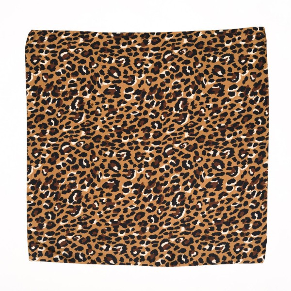 "Ladies Leopard Print Neckerchief.  - Approximately 27"" x 27""  - 100% Polyester"