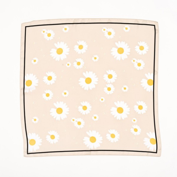 "Ladies Daisy Print Neckerchief.  - Approximately 27"" x 27""  - 100% Polyester"