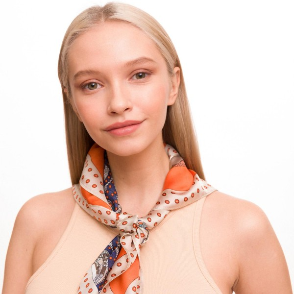 "Ladies Designer Chain Print Neckerchief.  - Approximately 27"" x 27""  - 100% Polyester"