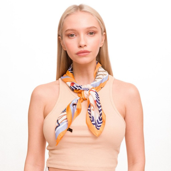 "Ladies Geometric Designer Chain Print Neckerchief.  - Approximately 27"" x 27""  - 100% Polyester"