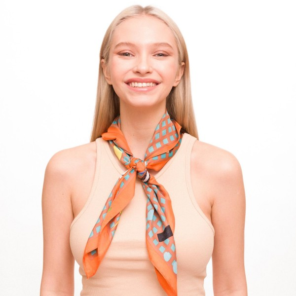 "Ladies Lightweight Checkered Neckerchief Featuring an Animated Print.  - Approximately 27"" x 27""  - 100% Polyester"