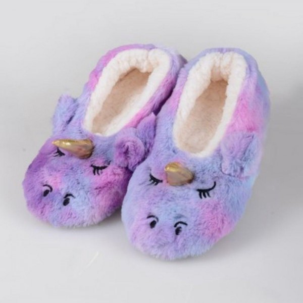 Women Assorted Rainbow Tie-Dye Unicorn Fuzzy Sherpa Slippers. (12 Pack)  • Fuzzy rainbow exterior with unicorn face & horn • Plush faux sherpa lining • Silicon rubber dot traction bottom • Thick • Breathable • Perfect for wearing indoors • Imported  - 12 Pair Per Pack - Sizes: 6-S/M (35-38) and 6-M/L (39-41) - 40% Acrylic / 60% Polyester