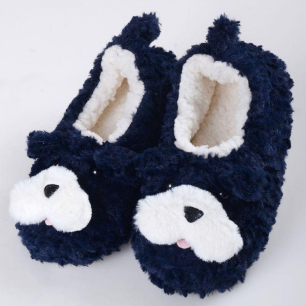Women's Assorted 12 Pack Sherpa Dog Slippers. (12 pack)  • Soft dog character with various colors • Reinforced seams • Faux sherpa comfort lining • Traction bottom • Thick • Imported  - 12 Pair Per Pack - Sizes: 6-S/M (35-38) and 6-M/L (39-41) - Colors: 2-Grey / 2-Taupe / 2-Navy / 2-Brown / 2-Ivory / 2-Pink - 40% Acrylic / 60% Polyester