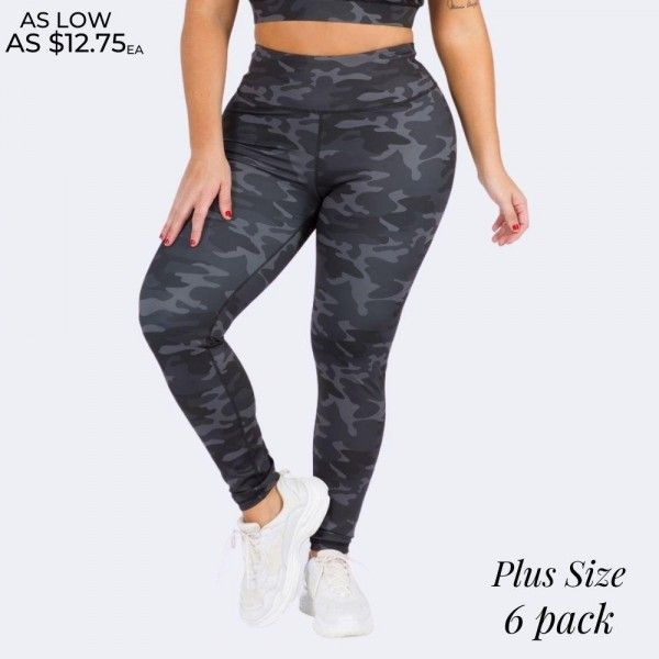 "Women's Active Plus Size Dark Camouflage Athletic Leggings.  • Elasticized high-rise waistband • Dark camo print • 4 way stretch moves-with-you • Moisture wick fabric • Full length design • Flattering seam details • Triangle crotch gusset eliminates camel toe • Pull on/off styling • Great for all low-high impact workouts • Imported  - 6 Pair Per Pack - Sizes: 2-XL / 2-2XL / 2-3XL - Inseam approximately 27"" in Length - 40% Polyester / 38% Nylon / 22% Spandex"