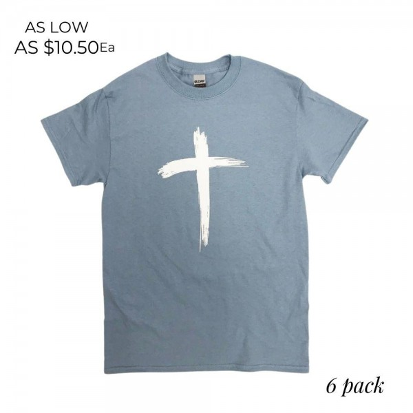 Brushed Cross Graphic Tee.  - Printed on a Gildan Ultra Cotton - Color: Blue - 6 Shirts Per Pack - Sizes: 1-S / 2-M / 2-L / 1-XL - 100% Cotton