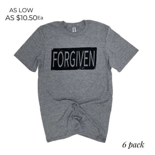 Distressed Forgiven Graphic Tee.  - Printed on a Gildan Softstyle Brand Tee - Color: Heather Grey  - 6 Shirts Per Pack - Sizes: 1-S / 2-M / 2-L / 1-XL - 50% Cotton / 50% Polyester