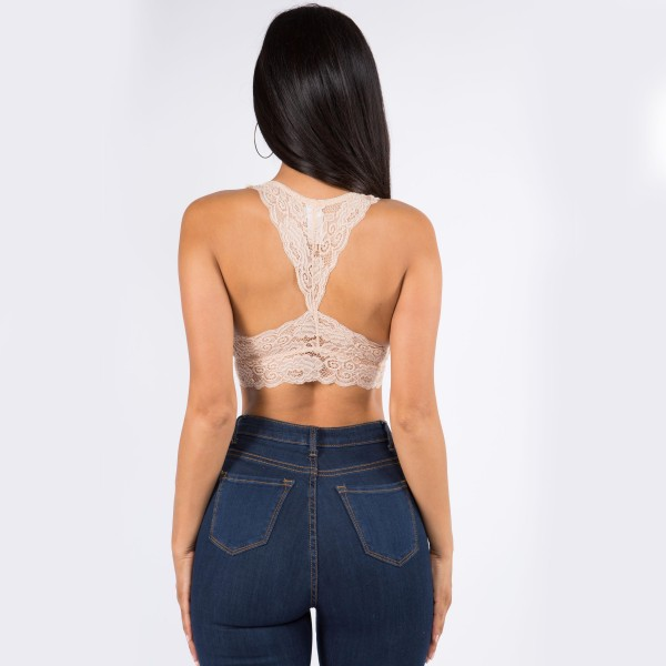 Women's Padded Lace Bralette. (6 pack)  - Padded - Floral Lace Design - Racerback Back Design/Style  - 6 Bralettes Per Pack - Sizes: 3-S/M and 3-M/L - 92% Nylon / 8% Spandex