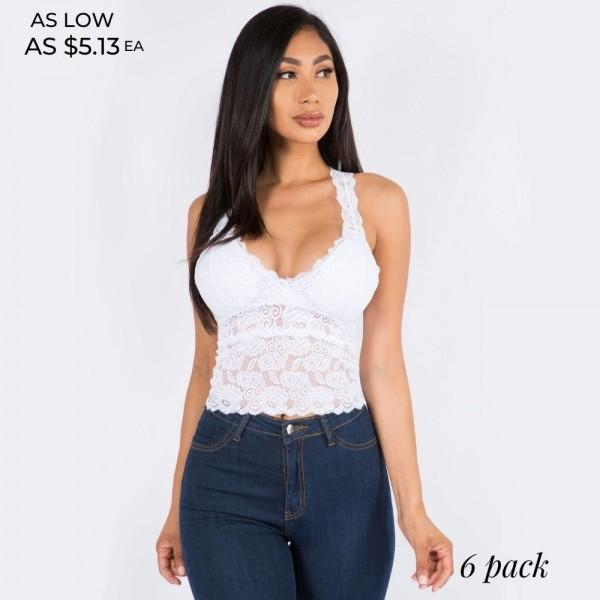 "Women's Padded Lace Crop Bralette. (6 pack)  - Padded - Crop Design - Racerback Back Design - Floral Lace Design  - 6 Bralettes Per Pack - Sizes: 3-S/M and 3-L/XL - 6"" Crop  - 92% Nylon / 8% Spandex"