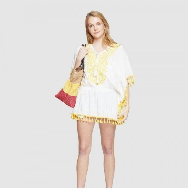 """Do everything in Love Brand Yellow Floral Embroidered Cover Up Top Featuring Tassel Trim.  - V-Neck Tassel Tie Detail - Scrunched Elastic Waistline  - One size fits most 0-14 - Approximately 30"""" L - 100% Viscose"""