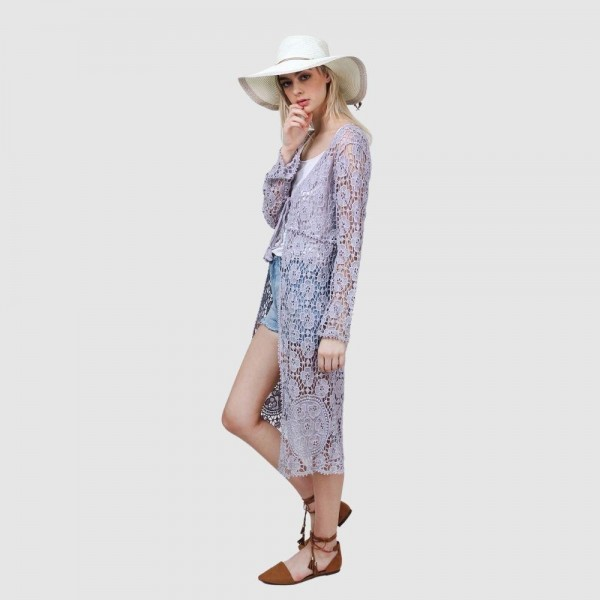 """Do everything in Love Brand Crochet Lace Kimono.  - Front Tie Closure Detail - One size fits most 0-14 - Approximately 40"""" L - 100% Cotton"""