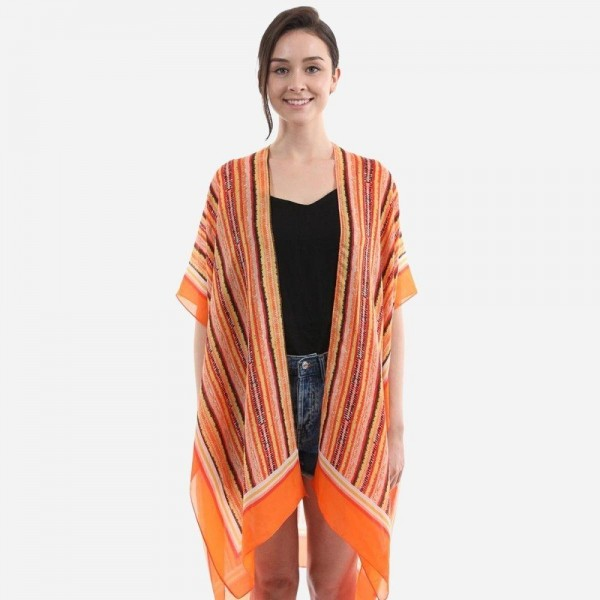 "Women's Lightweight Brush Stripe Print Satin Silk Kimono.  - One size fits most 0-14 - Approximately 36"" L  - 100% Polyester"