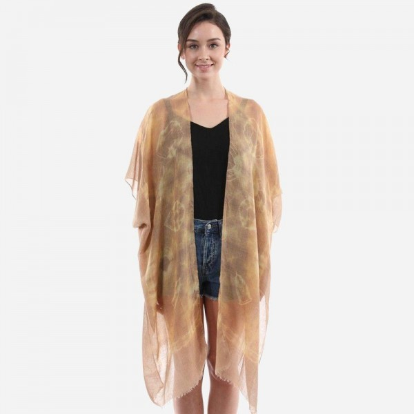 "Women's Lightweight Tie-Dye Kimono.  - One size fits most 0-14 - Approximately 37"" L  - 65% Viscose / 35% Cotton"