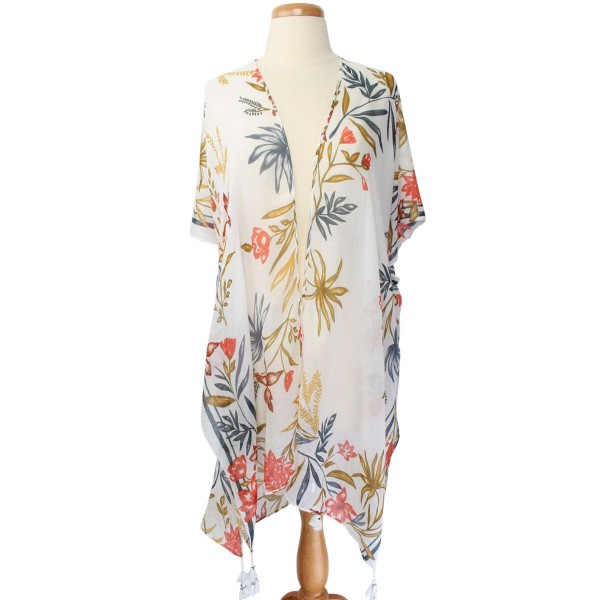 """Women's Lightweight Tropical Floral Print Tassel Kimono.  - One size fits most 0-14 - Approximately 38"""" L - 100% Polyester"""