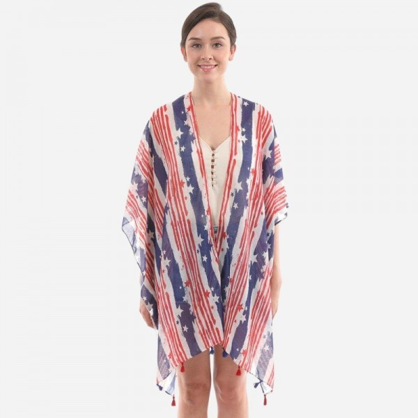 "Women's Lightweight Distressed Stars & Stripes Tassel Kimono.  - One size fits most 0-14 - Approximately 37"" L - 100% Polyester"