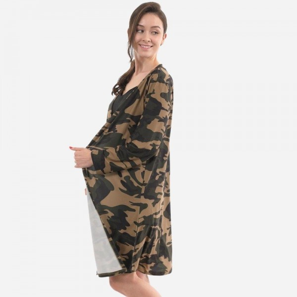 "Women's Jersey Knit Camouflage Kimono.  - One size fits most 0-14 - Approximately 40"" L  - 65% Cotton / 35% Polyester"