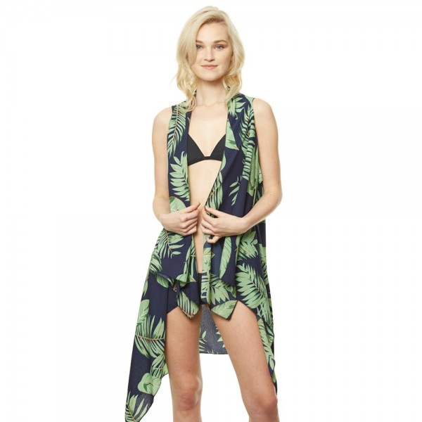 "Women's Lightweight Tropical Palm Leaf Vest.  - One size fits most 0-14 - Approximately 35"" L - 100% Polyester"