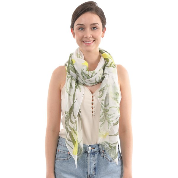 "Women's Lightweight Tropical Floral Print Scarf.  - Approximately 35"" W x 70"" L  - 100% Polyester"