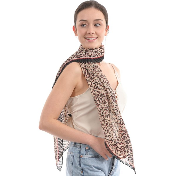 "Women's Lightweight Leopard Print Pleated Bias Scarf.  - Approximately 25"" W x 50"" L - 100% Polyester"