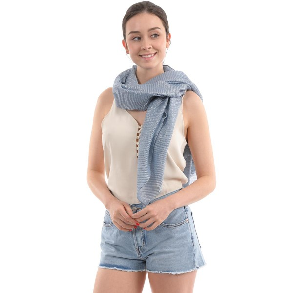 "Women's Lightweight Metallic Pleated Scarf.  - Approximately 35"" W x 70"" L - 100% Polyester"