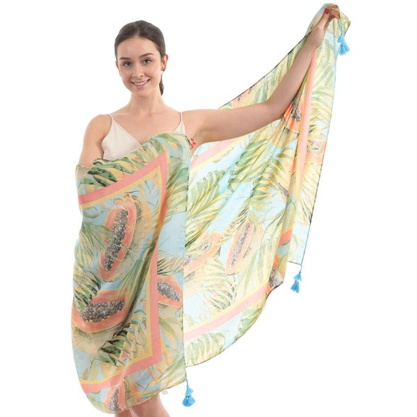 "Women's Lightweight Papaya Print Tassel Scarf.  - Approximately 35"" W x 70"" L - 100% Polyester"