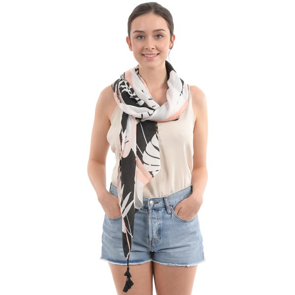 "Women's Lightweight Black & Pink Tropical Print Tassel Scarf.  - Approximately 35"" W x 70"" L - 100% Polyester"