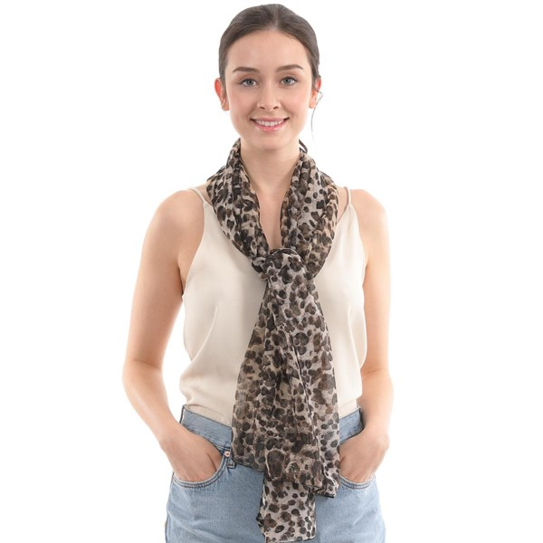 "Women's Lightweight Lurex Leopard Print Scarf.  - Approximately 24"" W x 70"" L - 100% Polyester"