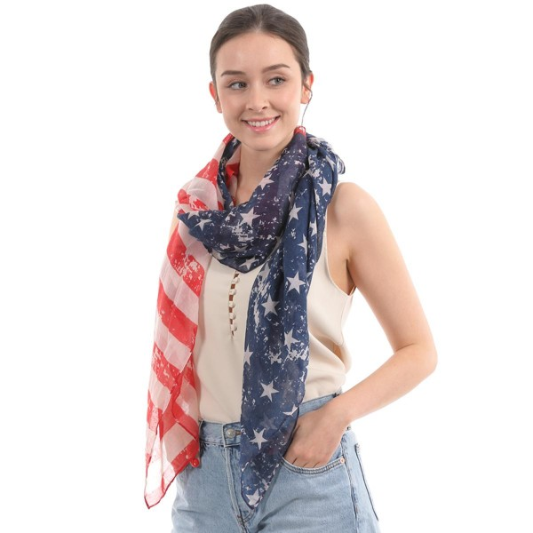 "Women's Lightweight Vintage Distressed USA Scarf.  - Approximately 35"" W x 70"" L - 100% Polyester"