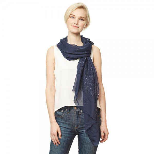 "Women's Lightweight Sequin's Striped Scarf.  - Approximately 35"" W x 70"" L - 100% Polyester"
