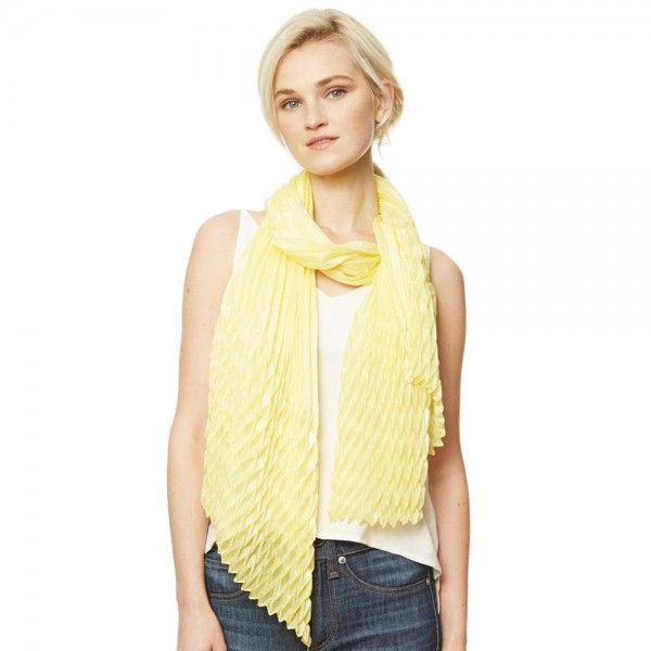 "Women's Lightweight Solid Yellow Silky Pleated Scarf.  - Approximately 35"" W x 70"" L - 100% Polyester"