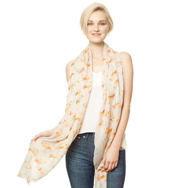 "Women's Lightweight Flamingo Print Scarf.  - Approximately 35"" W x 70"" L - 50% Cotton / 50% Viscose"