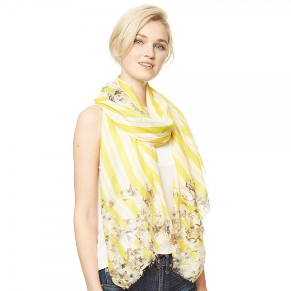 "Women's Lightweight Metallic Floral Stripe Scarf.  - Approximately 35"" W x 70"" L - 100% Polyester"