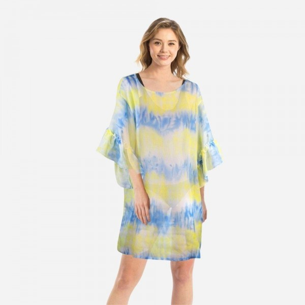"Women's Lightweight Tie-Dye Sheer Cover Up Top with Ruffle Sleeves.  - One size fits most 0-14 - Approximately 30"" L  - 100% Polyester"