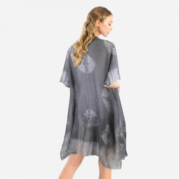"Women's Lightweight Tie-Dye Print Kimono.  - One size fits most 0-14 - Approximately 37"" L  - 100% Polyester"