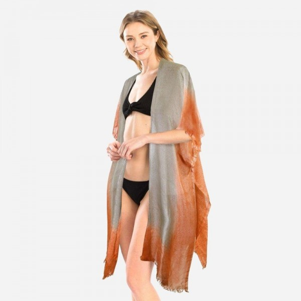 "Women's Lightweight Metallic Ombre Kimono.  - One size fits most 0-14 - Approximately 37"" L - 100% Viscose"