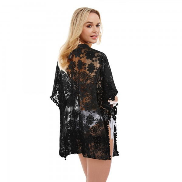 "Women's Floral Lace Cover Up Featuring Pom Pom Trim.  - One size fits most 0-14 - Approximately 30"" L  - 100% Polyester"