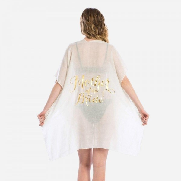 "Women's Lightweight Sheer Kimono Featuring ""Mother of the Bride"" Back Detail.  - One size fits most 0-14 - Approximately 35"" in Length - 100% Viscose"