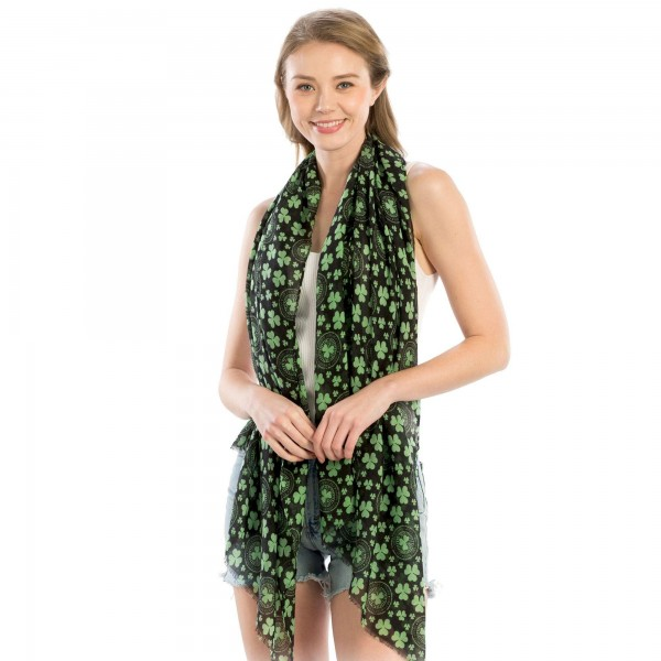 "Women's Lightweight St. Patricks Day Printed Scarf.  - Approximately 35"" W x 70"" L - 100% Polyester"