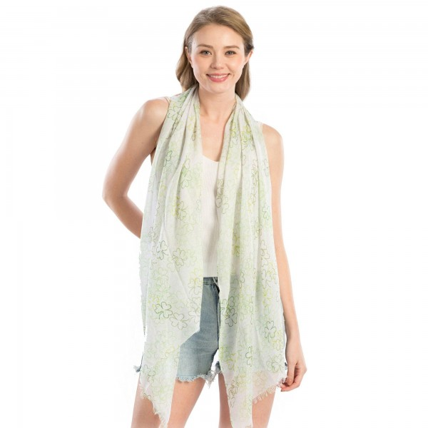 "Women's Lightweight St. Patricks Clover Print Scarf.  - Approximately 35"" W x 70"" L - 100% Polyester"