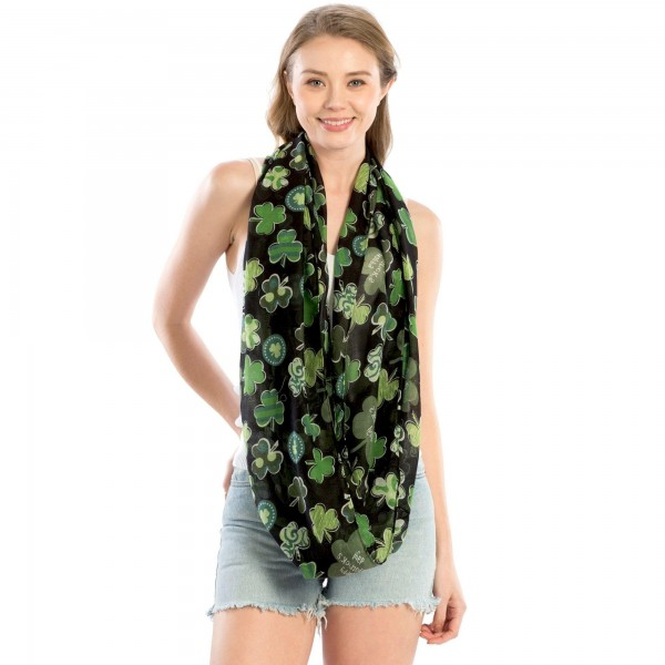 "Women's Lightweight St. Patricks Day Print Infinity Scarf.  - Approximately 25"" W x 35"" L  - 100% Polyester"